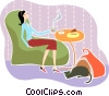 Vector Clipart graphic  of a Having Coffee