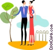 Couple walking through the park Vector Clipart illustration