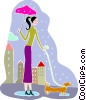Woman walking her dog in the rain Vector Clipart illustration