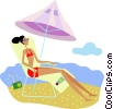 Woman relaxing on the beach Vector Clipart illustration