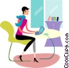 Businesswomen working on her laptop Vector Clipart illustration