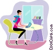 Businesswomen working on her laptop Vector Clip Art picture