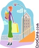 Woman carrying home her groceries Vector Clipart illustration