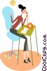 Vector Clipart graphic  of a Women On The Phone