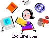 Vector Clip Art picture  of a Juggling and Multitasking