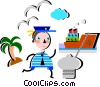 Sailor ready to board the ship Vector Clip Art picture