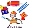Fireman fighting fire with ladder, truck and hose Vector Clip Art graphic