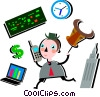 Investor on the phone holding Bull market mask Vector Clip Art graphic