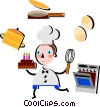 Pastry Chef with birthday cake, stove, eggs, and pot Vector Clipart image