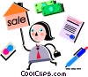 Real estate agent with for sale sign Vector Clipart graphic