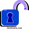 Open padlock Vector Clipart illustration