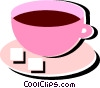 Cup of coffee with two sugar cubes Vector Clipart illustration