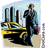 Vector Clip Art image  of a man on a cell phone exiting a