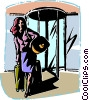 Vector Clipart graphic  of a woman leaving hotel with her