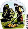 Vector Clip Art image  of a Woman raking up the leaves in