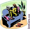 Woman on the couch reading the newspaper Vector Clipart picture