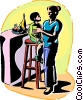 Mother and child on a stool Vector Clip Art picture