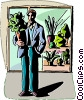 Vector Clip Art picture  of a Man with store bought plant