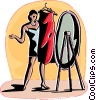 Woman trying on a dress Vector Clip Art graphic