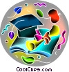 Vector Clip Art graphic  of a Graduation cap with diploma