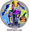 Haunted house with bats and jack-o-lantern Vector Clip Art image