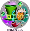 Irish top hat with pipe and mug of beer Vector Clip Art graphic