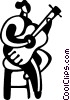 Vector Clipart graphic  of a Woman playing acoustic guitar