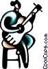 Woman playing acoustic guitar Vector Clipart illustration
