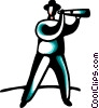 Vector Clip Art picture  of a Businessman with telescope
