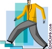 Businessman walking up stairs Vector Clip Art image