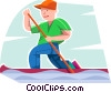 Vector Clip Art graphic  of a Boy paddling a kayak