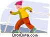 Vector Clip Art graphic  of a Boy cross country skiing