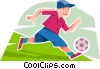 Vector Clip Art graphic  of a Soccer player dribbling ball