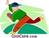 Boy running with the football Vector Clipart illustration
