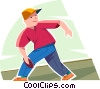 Vector Clip Art image  of a Boy playing Frisbee
