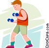 Boy lifting weights Vector Clip Art picture