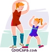 Mom and daughter doing aerobics Vector Clipart image