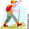 Vector Clip Art graphic  of a Boy hiking