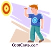Boy playing darts Vector Clip Art picture