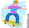 Vector Clip Art picture  of a Boy skateboarding
