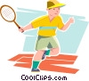 Vector Clip Art image  of a Boy playing tennis