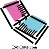Vector Clip Art graphic  of a Open three ring binder