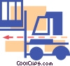 Vector Clipart graphic  of a Fork lift