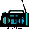 Vector Clip Art image  of a Portable cassette player
