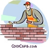 Brick Layer with trowel laying bricks Vector Clip Art picture