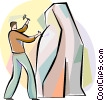 Sculptor with hammer and chisel Vector Clipart illustration