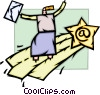 Woman on shooting star of e-mail Vector Clip Art picture