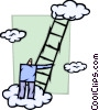 Businessman Climbing Ladder Vector Clipart illustration