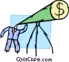 man looking through money telescope Vector Clipart illustration