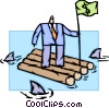 man on raft with money flag and sharks circling Vector Clipart image